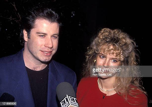 """Actor John Travolta and actress Kelly Preston attend the """"Grease"""" Original Theatre Production's 20th Anniversary Celebration on February 15, 1992 at..."""