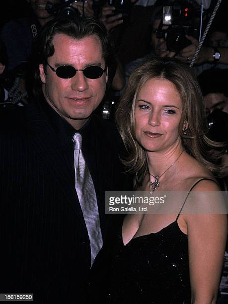 Actor John Travolta and actress Kelly Preston attend the 'Swordfish' New York City Premiere on May 11 2001 at the Ziegfeld Theater in New York City