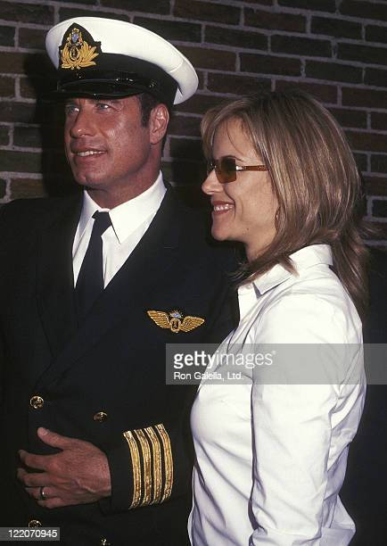 Actor John Travolta and actress Kelly Preston visit 'The Late Show with David Letterman' on August 28 2001 at the Ed Sullivan Theatre in New York City