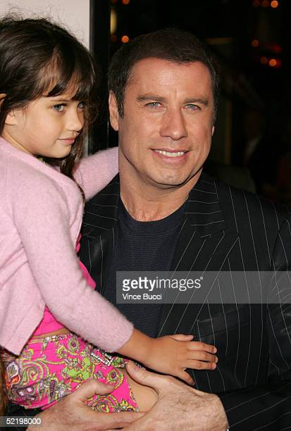 "Actor John Travolta and daughter Ella Bleu arrive at the premiere of MGM's ""Be Cool"" at the Grauman's Chinese Theater on February 14, 2005 in..."