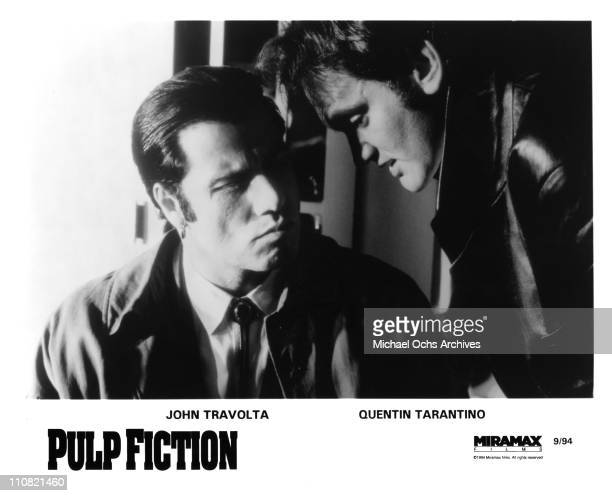 Actor John Travolta and director Quentin Tarantino in a publicity still for the Miramax movie 'Pulp Fiction' in September 1994 in Los Angeles,...
