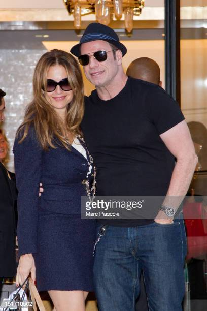 Actor John Travolta and his wife Kelly Preston are seen at the 'Chanel' store on September 10 2012 in Paris France