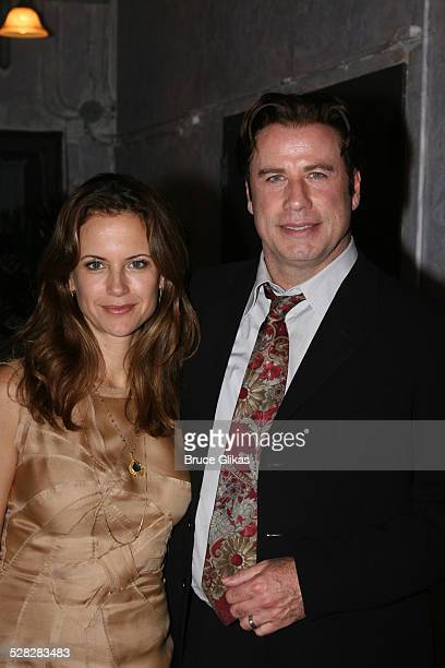 Actor John Travolta and Kelly Preston visit the cast of The Rise of Dorothy Hale Off-Broadway at St. Lukes Theater on October 7, 2007 in New York.