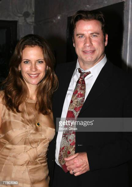 """Actor John Travolta and Kelly Preston visit the cast of """"The Rise of Dorothy Hale"""" Off-Broadway at St. Lukes Theater on October 7, 2007 in New York."""