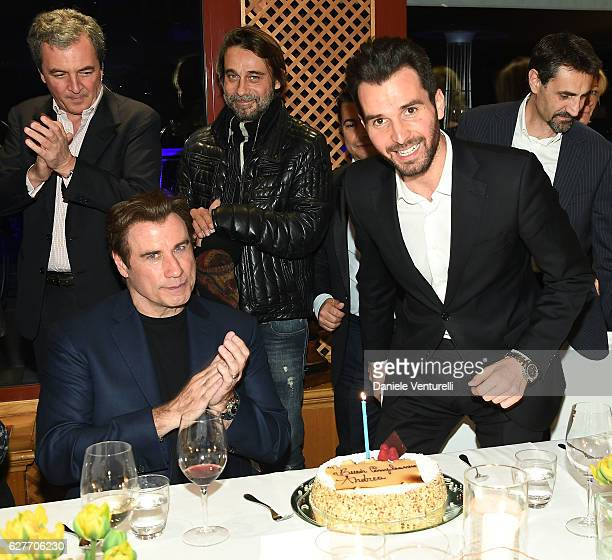 Actor John Travolta and producer Andrea Iervolino of AMBI Group Grand Gala in Rome for Puerto Azul Resort and Andrea Iervolino's Birthday on December...