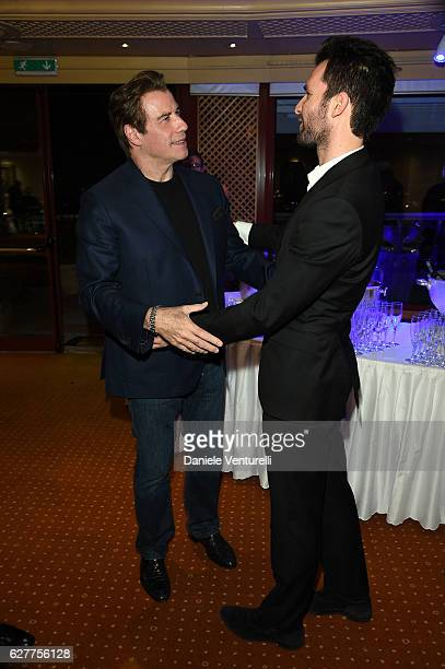 Actor John Travolta and producer Andrea Iervolino of AMBI Group attend Grand Gala in Rome for Puerto Azul Resort and Andrea Iervolino's Birthday on...