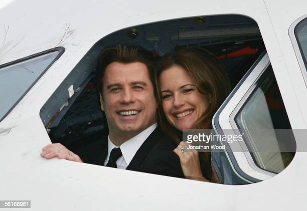 Actor John Travolta and wife actress Kelly Preston sit in the cockpit of an Airbus A380 at Brisbane International Airport on November 15 2005 in...