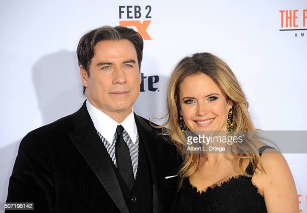 """Actor John Travolta and wife/actress Kelly Preston arrive for premiere of """"FX's """"American Crime Story - The People V. O.J. Simpson"""" held at Westwood..."""