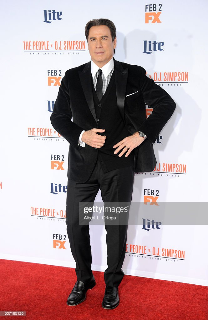 Actor John Travolta arrives for premiere of 'FX's 'American Crime Story - The People V. O.J. Simpson' held at Westwood Village Theatre on January 27, 2016 in Westwood, California.
