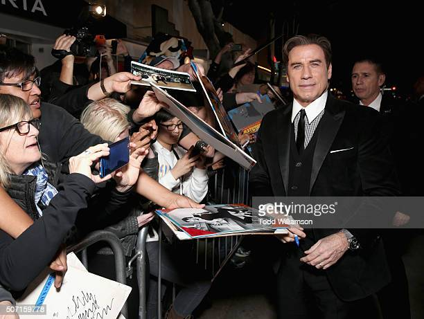 Actor John Travolta attends premiere of FX's 'American Crime Story The People V OJ Simpson' at Westwood Village Theatre on January 27 2016 in...