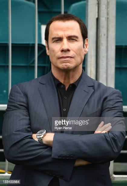 Actor John Travolta attends the Day Three Afternoon FourBall Matches of the 2011 Presidents Cup at Royal Melbourne Golf Course on November 19 2011 in...