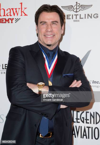 Actor John Travolta attends the Living Legends of Aviation Awards at The Beverly Hilton Hotel on January 17 2014 in Beverly Hills California