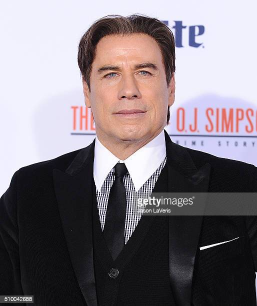 Actor John Travolta attends the premiere of 'American Crime Story The People V OJ Simpson' at Westwood Village Theatre on January 27 2016 in Westwood...
