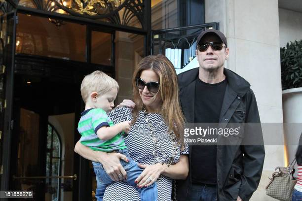 Actor John Travolta his wife Kelly Preston and their son Benjamin are seen at the 'Four Seasons George V' hotel on September 12 2012 in Paris France