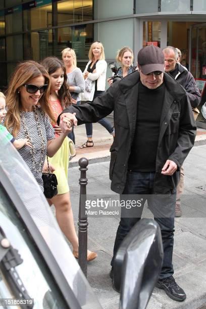 Actor John Travolta his wife Kelly Preston their son Benjamin and their daughter Ella Bleue are seen leaving the 'Pizza Pino' restaurant on September...