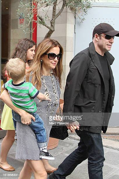 Actor John Travolta his wife Kelly Preston their son Benjamin and their daughter Ella Bleue are seen leaving the 'Pizza Pino' restaurant on September...