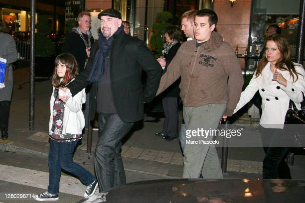 Actor John Travolta is seen leaving the 'Relais Plaza' restaurant with his daughter Ella Bleu Travolta, his son Jett Travolta and his wife Kelly...