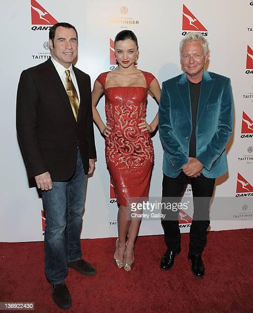 Actor John Travolta new Qantas Ambassador Miranda Kerr and singer Iva Davies attend the Qantas Airways Spirit of Australia Party at the Hollywood...