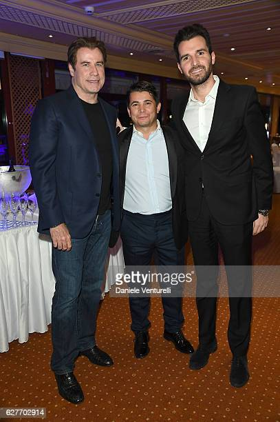 Actor John Travolta Oscar Generale and producer Andrea Iervolino of AMBI Group Grand Gala in Rome for Puerto Azul Resort and Andrea Iervolino's...