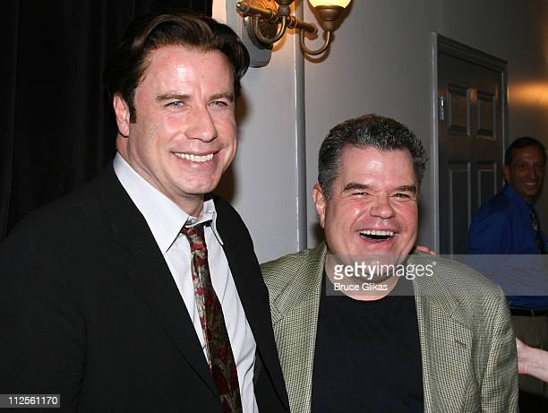 """Actor John Travolta poses with actor Michael Badalucco when he visits """"The Rise of Dorothy Hale"""" Off-Broadway at St. Lukes Theater on October 7, 2007..."""