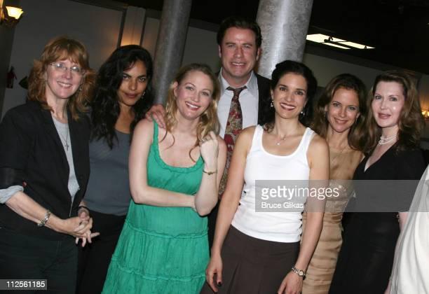 Actor John Travolta poses with director Pamela Hall, Sarita Choudhury, Sarah Wynter, Laura Koffman, Kelly Preston and playwright Myra Bairstow when...