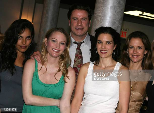 """Actor John Travolta poses with Sarita Choudhury, Sarah Wynter, Laura Koffman and Kelly Preston when he visits """"The Rise of Dorothy Hale"""" Off-Broadway..."""