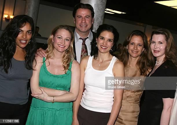 "Actor John Travolta poses with Sarita Choudhury, Sarah Wynter, Laura Koffman, Kelly Preston and playwright Myra Bairstow when he visits ""The Rise of..."