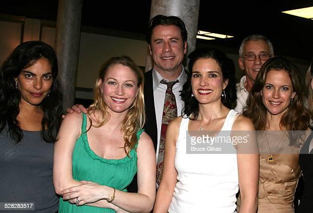 Actor John Travolta poses with Sarita Choudhury, Sarah Wynter, Laura Koffman, Mark Lamura and Kelly Preston when he visits The Rise of Dorothy Hale...