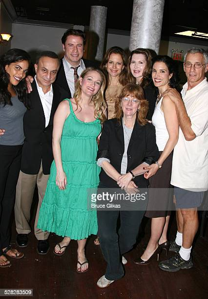 Actor John Travolta poses with Sarita Choudhury, Sarah Wynter,Kelly Preston, director Pamela Hall, playwright Myra Bairstow, Laura Koffman and Mark...