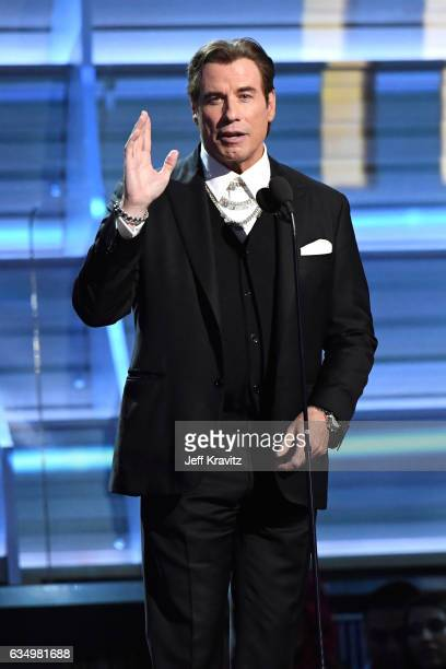 Actor John Travolta speaks onstage during The 59th GRAMMY Awards at STAPLES Center on February 12 2017 in Los Angeles California
