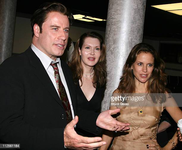 """Actor John Travolta talks to the cast with playwright Myra Bairstow and Kelly Preston when he visits """"The Rise of Dorothy Hale"""" Off-Broadway at St...."""