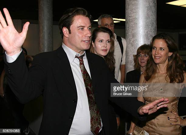 Actor John Travolta talks to the cast with playwright Myra Bairstow, director Pamela Hall, actor Mark Lamura and Kelly Preston when he visits The...