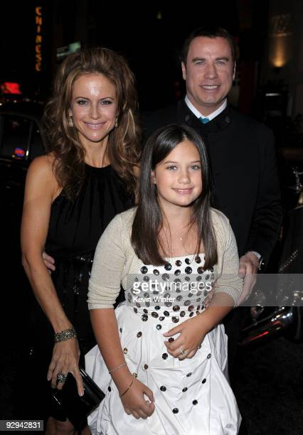 Actor John Travolta wife actress Kelly Preston and daughter Ella Bleu Travolta arrive at the premiere of Walt Disney Pictures' Old Dogs held at the...