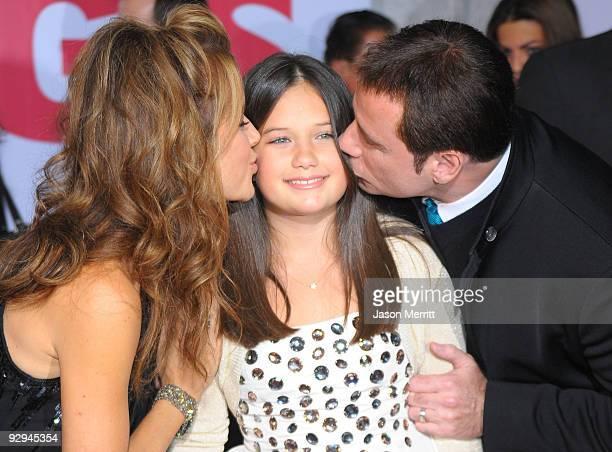 Actor John Travolta wife actress Kelly Preston and daughter Ella Bleu Travolta arrive at the premiere of Walt Disney Pictures' 'Old Dogs' at the El...