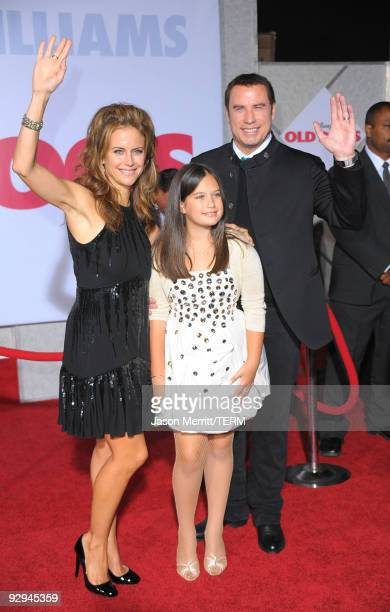 Actor John Travolta wife actress Kelly Preston and daughter Ella Bleu Travolta arrive at the premiere of Walt Disney Pictures' 'Old Dogs' at the El...