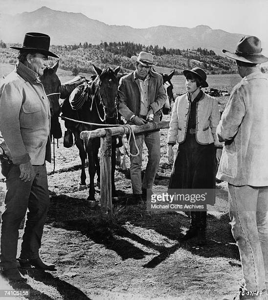 Actor John Wayne in Oscar Winning perfromance as Rooster Cogburn in scene from movie True Grit directed by Henry Hathaway Film also features Kim...