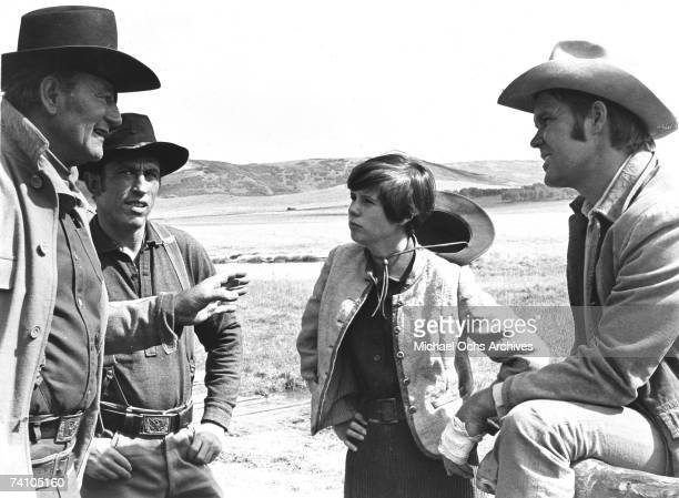 Actor John Wayne in Oscar Winning perfromance as Rooster Cogburn in scene from movie True Grit directed by Henry Hathaway Film also features Kiim...