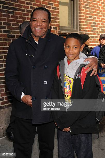 """Actor John Witherspoon and his son David arrive at the Ed Sullivan Theater for a taping of """"The Late Show with David Letterman"""" March 25, 2008 in New..."""