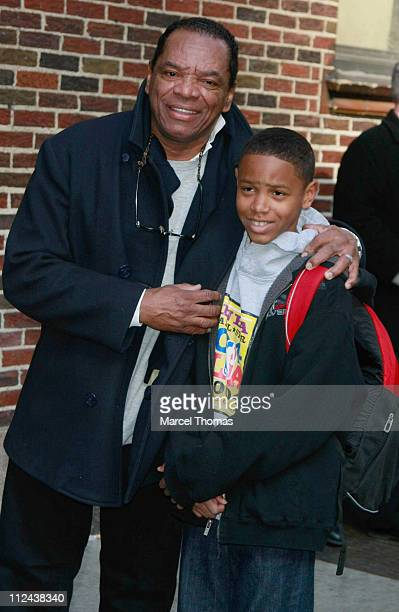 Actor John Witherspoon and son visit Late Show with David Letterman at the Ed Sullivan Theater on March 25 2008 in New York City
