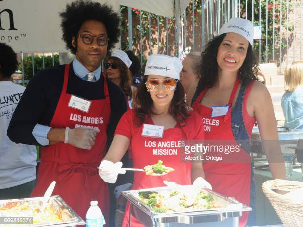 Actor Johnathan Fernandez, actress Christina DeRosa and producer Tiffany Phillips at the Los Angeles Mission's Easter Celebration held at Los Angeles...