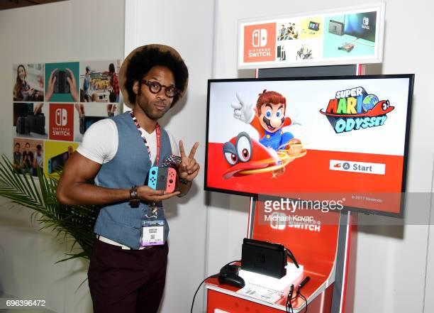 Actor Johnathan Fernandez visits the Nintendo booth at the 2017 E3 Gaming Convention at Los Angeles Convention Center on June 15 2017 in Los Angeles...