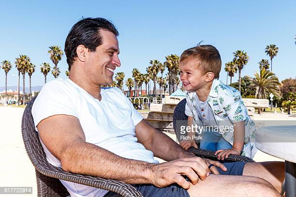Actor Johnathon Schaech and his son Camden Quinn Schaech spend the day at the beach on March 26 2016 in Santa Monica California