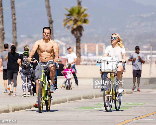 Actor Johnathon Schaech and his wife Julie Solomon spend the day at the beach on March 26 2016 in Santa Monica California