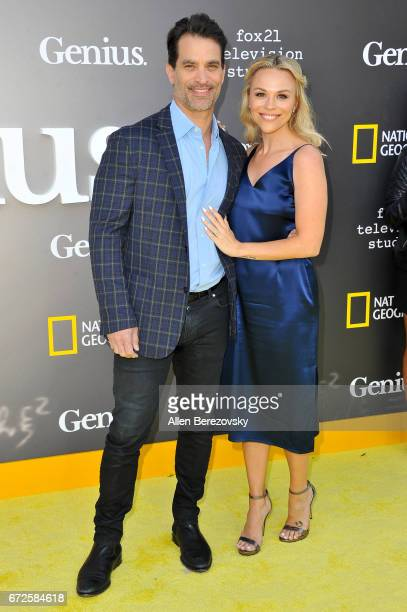 """Actor Johnathon Schaech and Julie Solomon attend a premiere of National Geographic's """"Genius"""" at Fox Bruin Theater on April 24, 2017 in Los Angeles,..."""