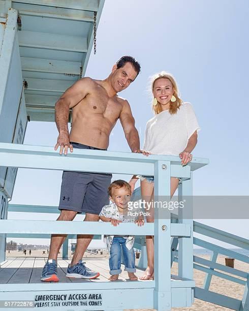 Actor Johnathon Schaech son Camden Quinn Schaech and Julie Solomon spend the day at the beach on March 26 2016 in Santa Monica California