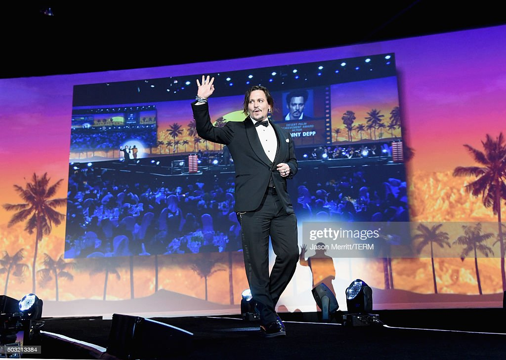 Actor Johnny Depp accepts the Desert Palm Achievement Award onstage at the 27th Annual Palm Springs International Film Festival Awards Gala at Palm Springs Convention Center on January 2, 2016 in Palm Springs, California.
