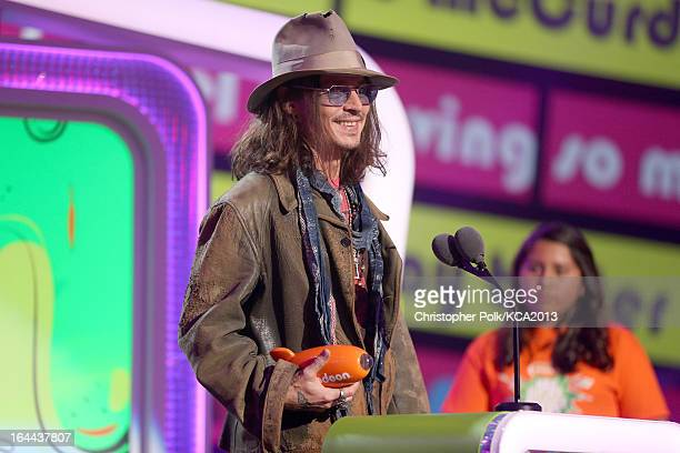 Actor Johnny Depp accepts the Kids' Choice Award for Favorite Movie Actor onstage during Nickelodeon's 26th Annual Kids' Choice Awards at USC Galen...