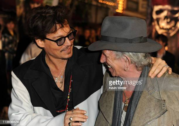 """Actor Johnny Depp and actor/musician Keith Richards arrive at premiere of Walt Disney Pictures' """"Pirates of the Caribbean: On Stranger Tides"""" held at..."""