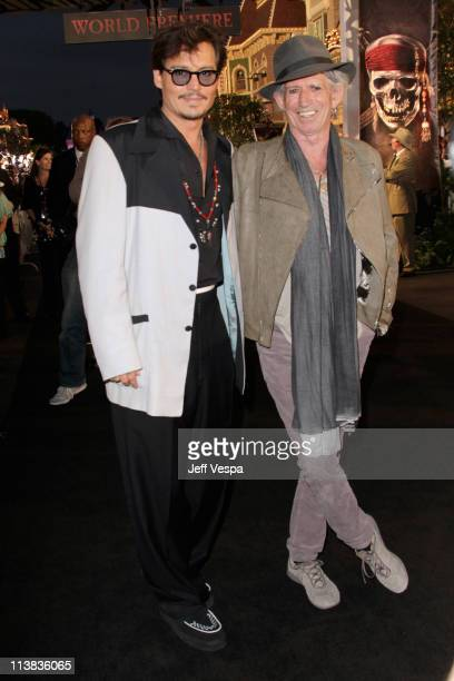 Actor Johnny Depp and actor/musician Keith Richards arrive at the world premiere of 'Pirates of the Caribbean On Stranger Tides' at Disneyland on May...