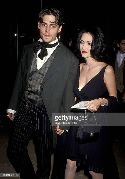 Actor Johnny Depp and actress Winona Ryder attend the 48th Annual Golden Globe Awards on January 19, 1991 at Beverly Hilton Hotel in Beverly Hills,...